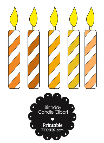Birthday Candle Clipart in Shades of Orange from PrintableTreats.com