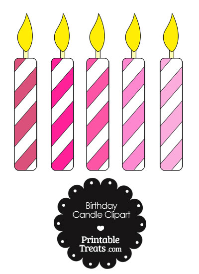 Birthday Candle Clipart in Shades of Pink from PrintableTreats.com