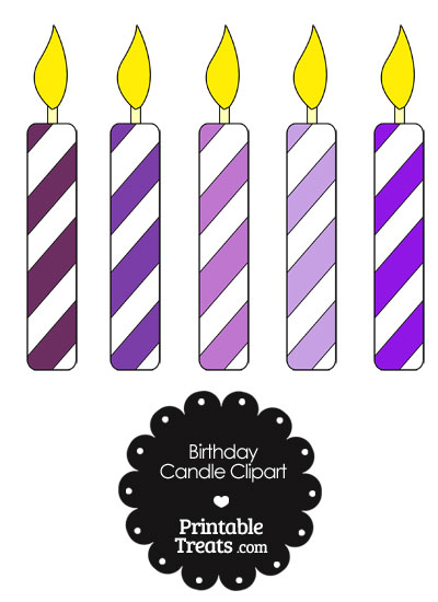Birthday Candle Clipart in Shades of Purple from PrintableTreats.com