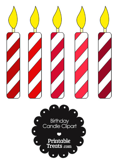 Birthday Candle Clipart in Shades of Red from PrintableTreats.com