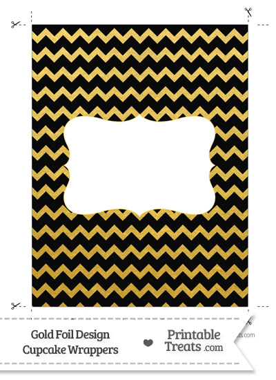 Black and Gold Foil Chevron Chocolate Bar Wrappers from PrintableTreats.com