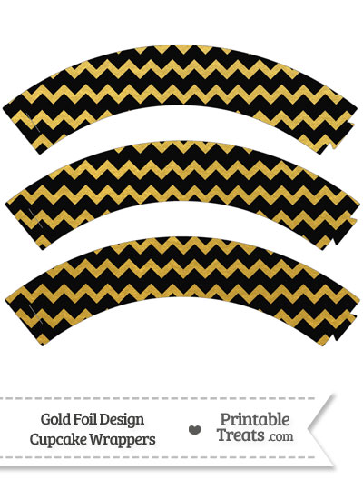 Black and Gold Foil Chevron Cupcake Wrappers from PrintableTreats.com