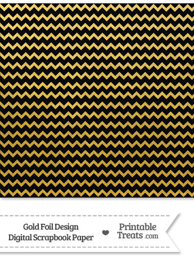 Black and Gold Foil Chevron Digital Scrapbook Paper from PrintableTreats.com