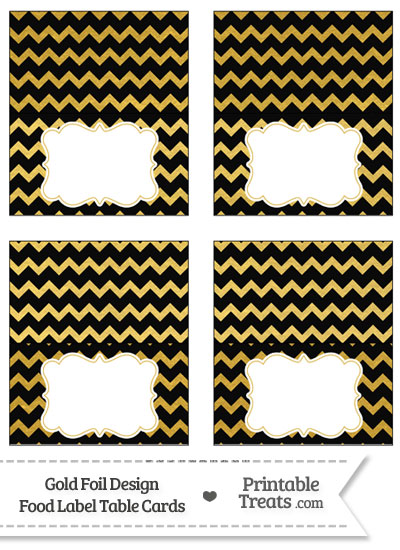 Black and Gold Foil Chevron Food Labels from PrintableTreats.com