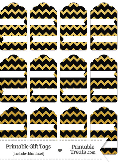 Black and Gold Foil Chevron Gift Tags from PrintableTreats.com
