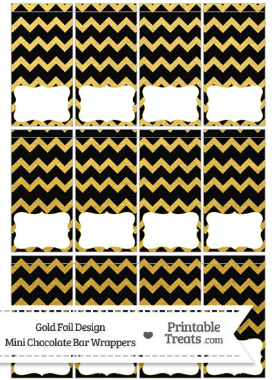 Black and Gold Foil Chevron Mini Chocolate Bar Wrappers from PrintableTreats.com