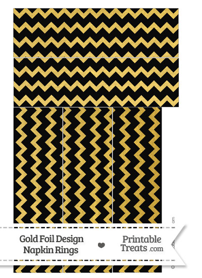 Black and Gold Foil Chevron Napkin Rings from PrintableTreats.com