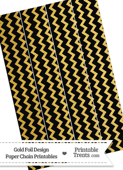 Black and Gold Foil Chevron Paper Chains from PrintableTreats.com