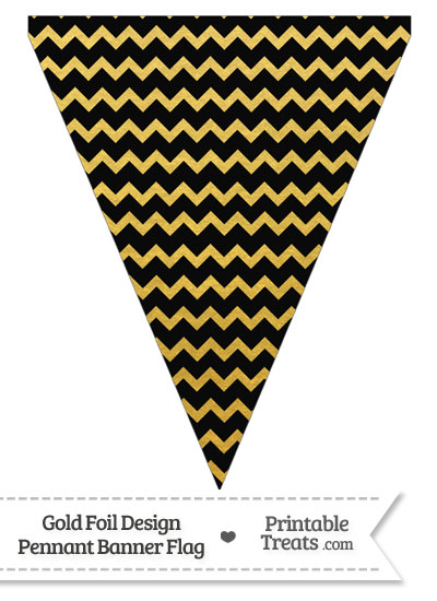 Black and Gold Foil Chevron Pennant Banner Flag from PrintableTreats.com