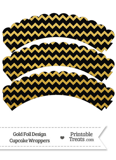 Black and Gold Foil Chevron Scalloped Cupcake Wrappers from PrintableTreats.com