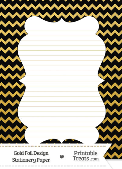 Black and Gold Foil Chevron Stationery Paper from PrintableTreats.com
