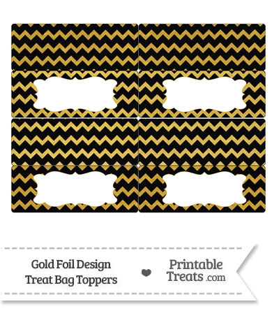 Black and Gold Foil Chevron Treat Bag Toppers from PrintableTreats.com
