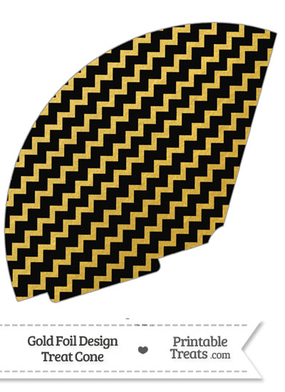 Black and Gold Foil Chevron Treat Cone from PrintableTreats.com