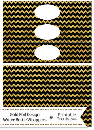 Black and Gold Foil Chevron Water Bottle Wrappers from PrintableTreats.com