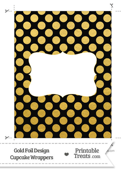 Black and Gold Foil Dots Chocolate Bar Wrappers from PrintableTreats.com