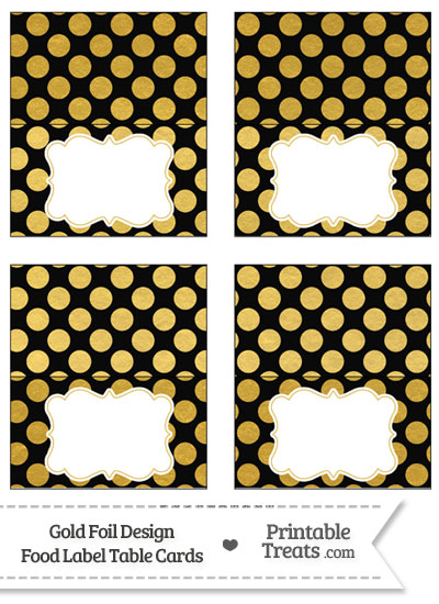 Black and Gold Foil Dots Food Labels from PrintableTreats.com