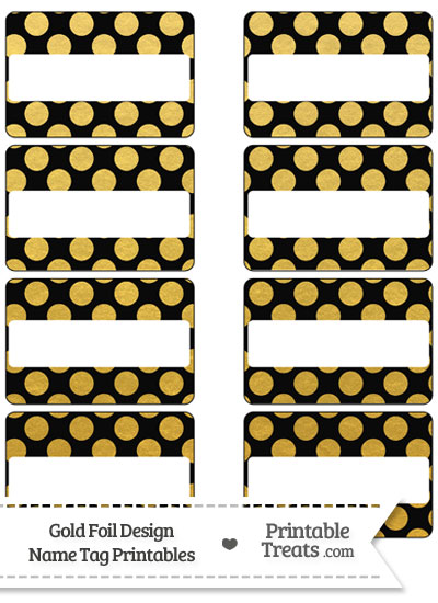 Black and Gold Foil Dots Name Tags from PrintableTreats.com