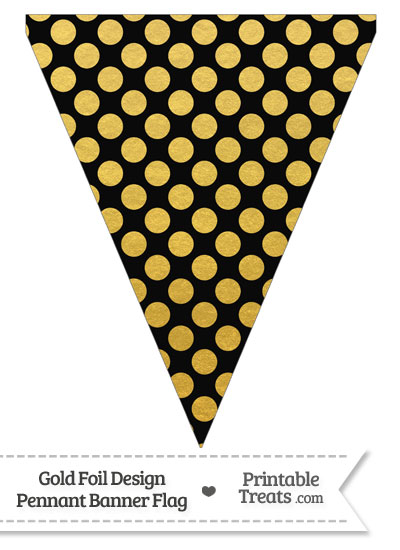 Black and Gold Foil Dots Pennant Banner Flag from PrintableTreats.com