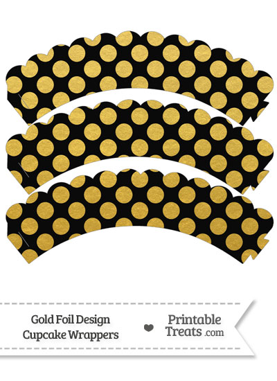 Black and Gold Foil Dots Scalloped Cupcake Wrappers from PrintableTreats.com