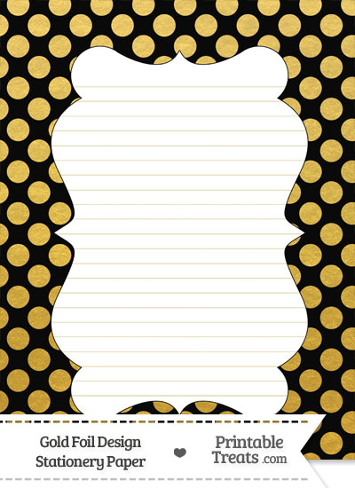 Black and Gold Foil Dots Stationery Paper from PrintableTreats.com