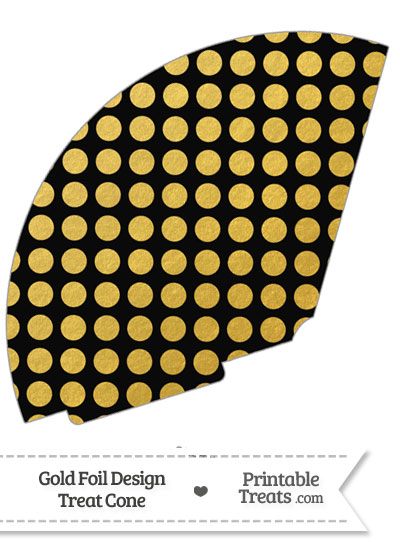 Black and Gold Foil Dots Treat Cone from PrintableTreats.com