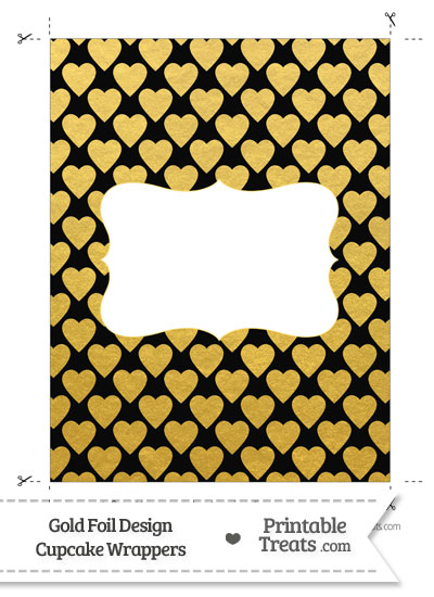Black and Gold Foil Hearts Chocolate Bar Wrappers from PrintableTreats.com