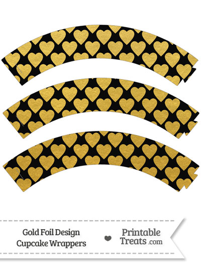 Black and Gold Foil Hearts Cupcake Wrappers from PrintableTreats.com