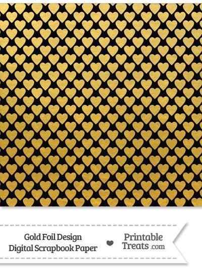 Black and Gold Foil Hearts Digital Scrapbook Paper from PrintableTreats.com