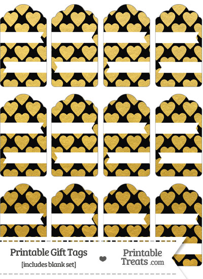 Black and Gold Foil Hearts Gift Tags from PrintableTreats.com