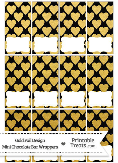 Black and Gold Foil Hearts Mini Chocolate Bar Wrappers from PrintableTreats.com