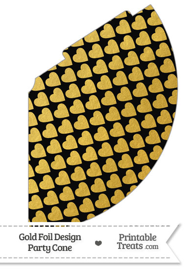 Black and Gold Foil Hearts Party Cone from PrintableTreats.com