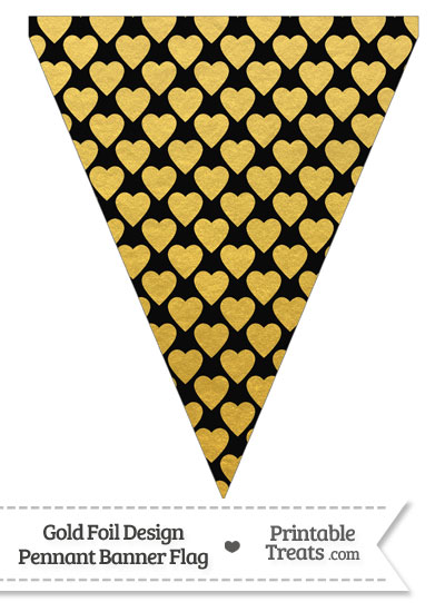 Black and Gold Foil Hearts Pennant Banner Flag from PrintableTreats.com