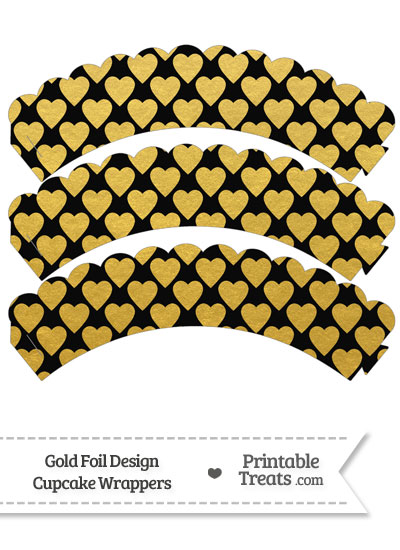 Black and Gold Foil Hearts Scalloped Cupcake Wrappers from PrintableTreats.com