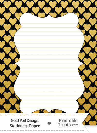 Black and Gold Foil Hearts Stationery Paper from PrintableTreats.com