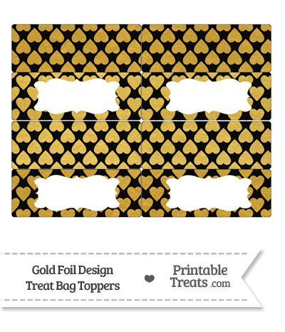 Black and Gold Foil Hearts Treat Bag Toppers from PrintableTreats.com