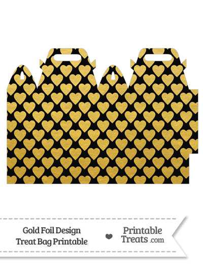Black and Gold Foil Hearts Treat Bag from PrintableTreats.com