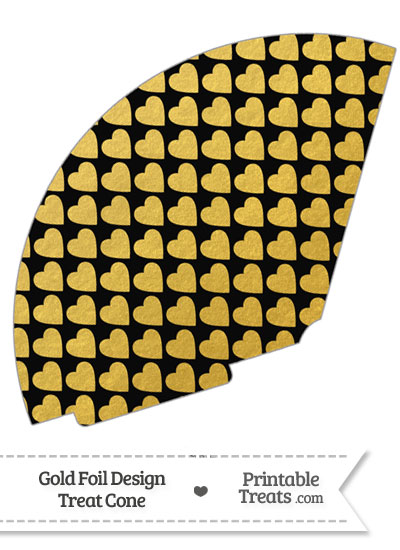 Black and Gold Foil Hearts Treat Cone from PrintableTreats.com