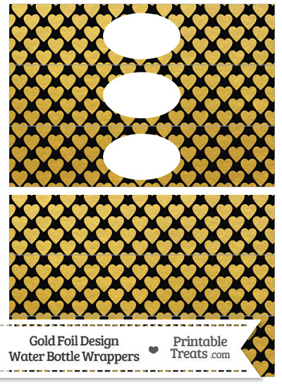 Black and Gold Foil Hearts Water Bottle Wrappers from PrintableTreats.com