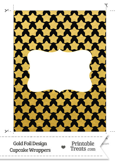 Black and Gold Foil Stars Chocolate Bar Wrappers from PrintableTreats.com