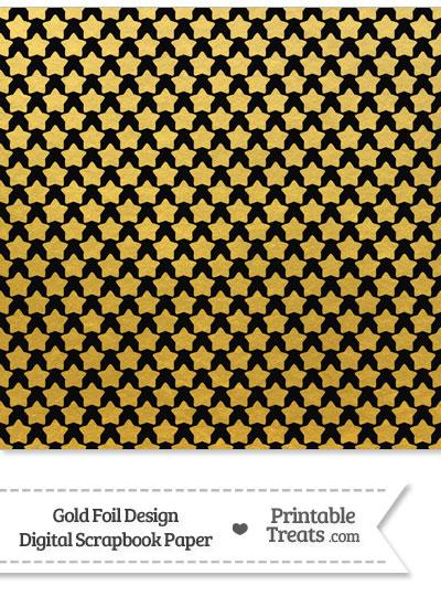 Black and Gold Foil Stars Digital Scrapbook Paper from PrintableTreats.com