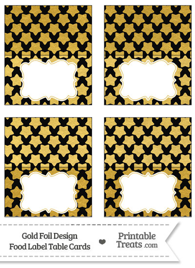 Black and Gold Foil Stars Food Labels from PrintableTreats.com