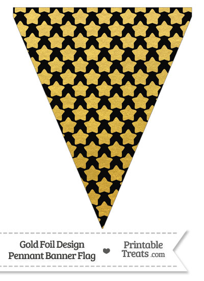 Black and Gold Foil Stars Pennant Banner Flag from PrintableTreats.com