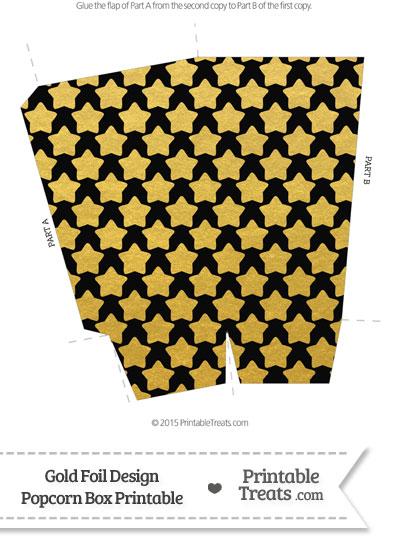 Black and Gold Foil Stars Popcorn Box from PrintableTreats.com