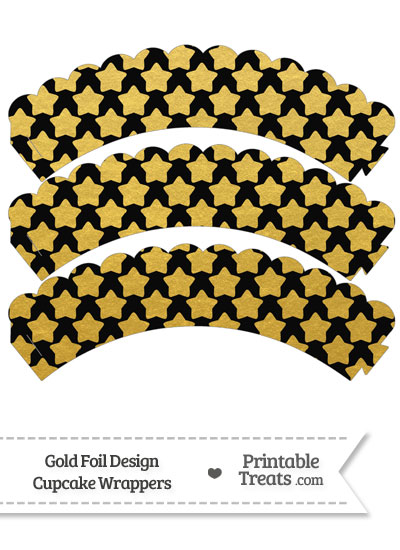 Black and Gold Foil Stars Scalloped Cupcake Wrappers from PrintableTreats.com
