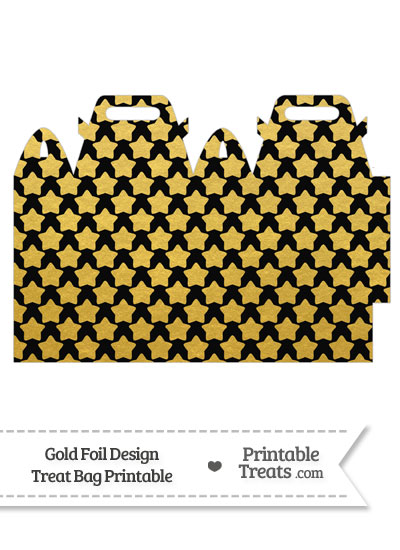Black and Gold Foil Stars Treat Bag from PrintableTreats.com