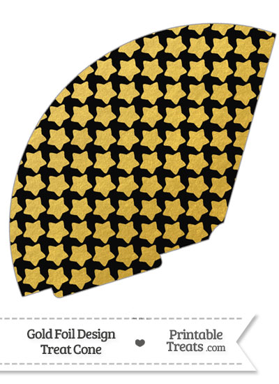 Black and Gold Foil Stars Treat Cone from PrintableTreats.com