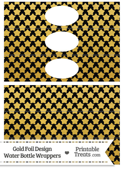 Black and Gold Foil Stars Water Bottle Wrappers from PrintableTreats.com