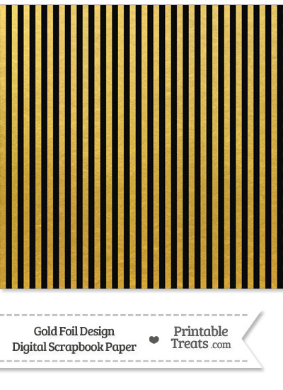 Black and Gold Foil Stripes Digital Scrapbook Paper from PrintableTreats.com