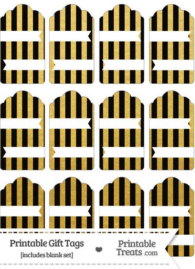Black and Gold Foil Stripes Gift Tags from PrintableTreats.com