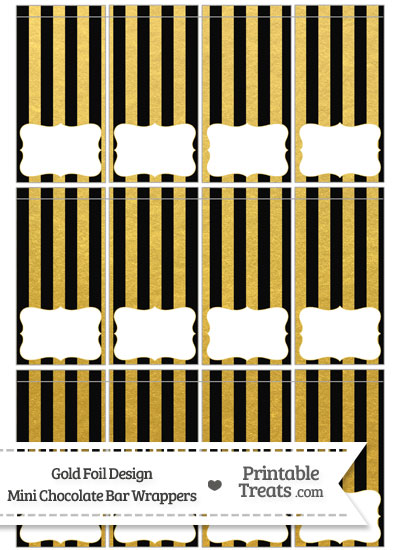Black and Gold Foil Stripes Mini Chocolate Bar Wrappers from PrintableTreats.com